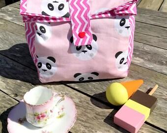 """lunch bag"""", pink pandas"""