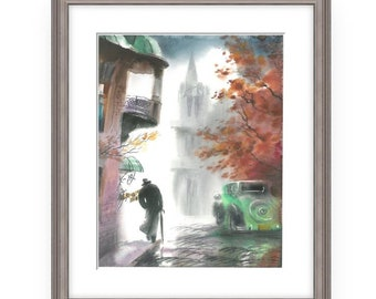 Promenade, Wonderful Watercolor,Amazing watercolor, easel watercolor,drawing watercolor, recognized master,Original painting, Victor Zelik