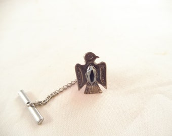 Eagle Tie Tack, Sterling Silver, Black Glass Stone