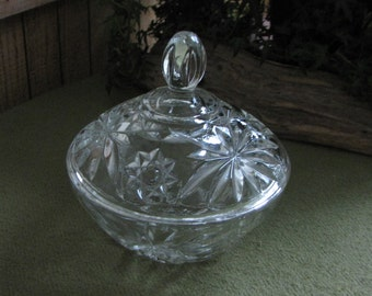 Vintage Glass Candy Dish Anchor Hocking Fans and Flowers