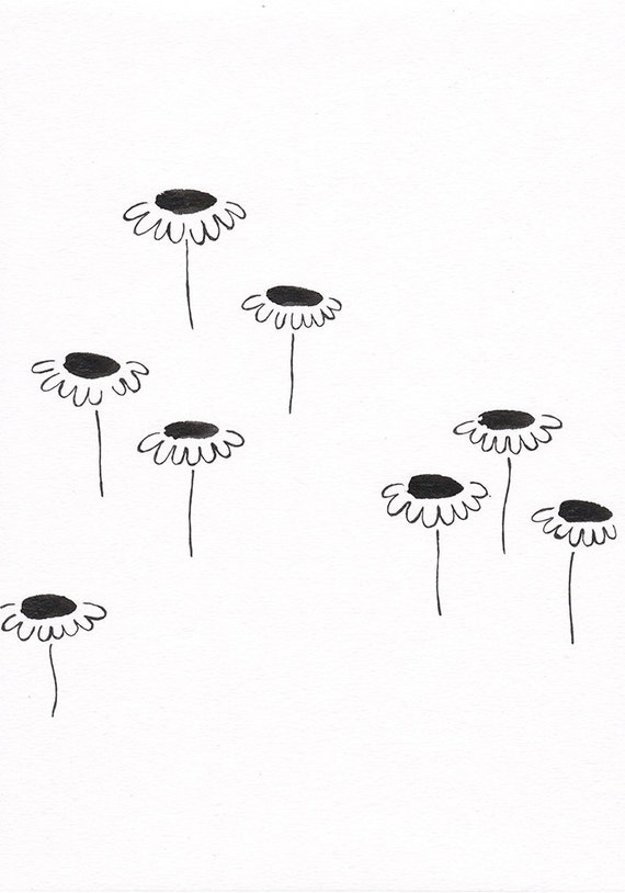 Items similar to simple wall art for home modern looking black and items similar to simple wall art for home modern looking black and white flowers illustration daisy drawing original floral artwork on etsy mightylinksfo