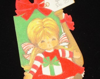 Vintage Do Not Open Until Dec 25, Christmas, Flocked, Retro Holiday Package Embellishment, Decoration, Scrapbook Page, No. 2  (669-11)