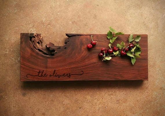 Personalized Live Edge Walnut Cheese Board