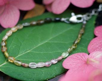 Tourmaline Bracelet, gemstone bracelet, watermelon tourmaline, ombre gemstone