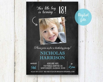 18th Birthday Invitation for boys | Personalized Chalkboard collage photo invite for him best brother son in law |  DIGITAL file!