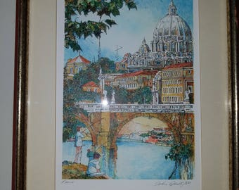 Rome Banks On The Tiber Framed Lithograph By John Speirs