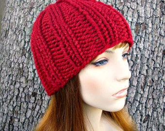 Knit Hat Red Womens Hat - Ribbed Beanie in Metallic Poinsettia Red Knit Hat - Red Hat Red Beanie Womens Accessories Winter Hat