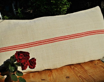 Vintage Authentic Grain Sack Body Pillow Sham Red Stripe/hemp and cotton handwoven/Handmade Sham/Christmas