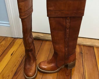 Sale! Vintage Frye Brown Leather Campus Riding Boots Braided Detail size 5