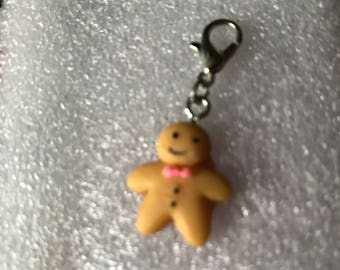Ginger bread  man clip on charm