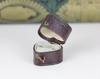 Antique Ring Box Heart Shaped Black Leather