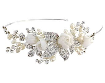CLARA -Vintage side detail headband with floral accents
