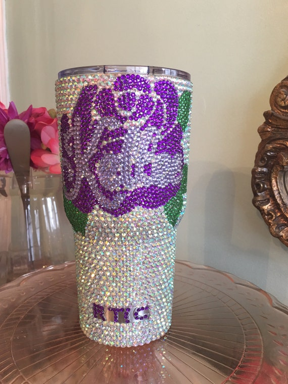 Rhinestone Yeti Rambler 30 oz with Flower and Name