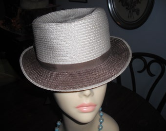 Vintage ADOLFO II Hat For Women with Ribbon and Flowers