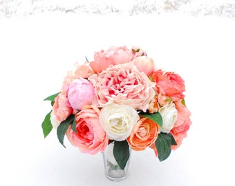 Coral, Peach, Blush, Ivory Peony and Ranunculus Bouquet