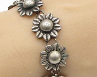 925 sterling silver - antique beaded spring flowers linked chain bracelet b1123