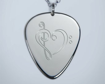 Solid Silver Plectrum Guitar Pick Necklace with Musical Heart Design