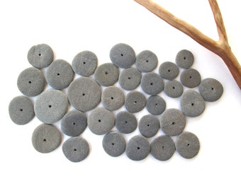 Rock Donut Beads Drilled Stone Spacers Beach Stone Beads Mediterranean Natural Stone Diy Jewelry Pairs Small MISTY GREY WHEELS 11-18 mm
