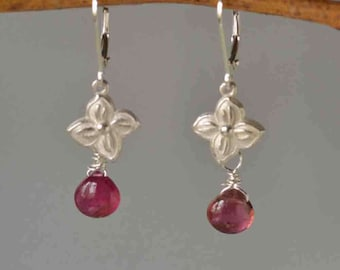 Pink Tourmaline Floral Earrings in Silver, Rubellite Tourmaline Earrings in Silver, Deep Pink Gemstone Dangle Earrrings, Gift for Her