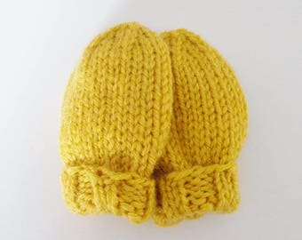 Mustard Yellow Hand Knit Baby Mittens in Infant Size 6 to 12 Months, Boy or Girl Handmade Baby Shower Gift, Children Warm Winter Clothing
