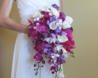 Cascading Purple Orchid & Calla Lily Bouquet for your Beach Wedding, Example Only!!