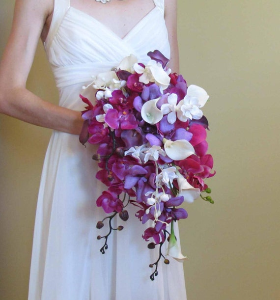 Doing Your Own Flowers For A Wedding: Cascading Purple Orchid & Calla Lily Bouquet For Your Beach