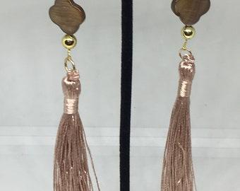 Long Tassel Champagne Earrings