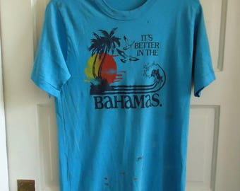 Vintage 80s Better in the BAHAMAS TRASHED T Shirt sz M