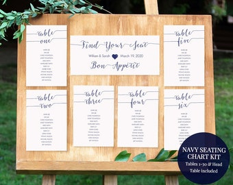 Navy Blue Seating Chart Kit - Navy Table Cards - Tables 1-30 - Editable PDF Instant Download - Navy table assignments - 4x6 inches -#GD0909