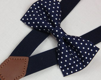 Navy blue white dots bow ties, men bow tie, BOWTIE SUSPENDER SET,wedding bow ties navy blue suspenders,baby/toddler bow tie,boy bow tie