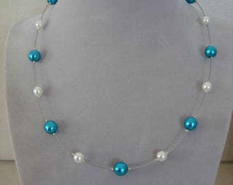 Necklace simple turquoise blue and White Pearl