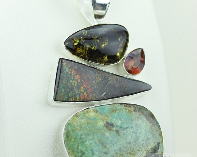 Rare ROYSTON TURQUOISE GENUINE Canadian Ammolite 925 S0LID Sterling Silver Pendant + 4mm Snake Chain & Free Worldwide Express Shipping a32