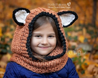 Knitting Pattern - Fox Hooded Cowl - Hooded Cowl - Hooded Fox Cowl Knitting Pattern - Hooded Scarf - Baby, Toddler, Child, Adult - PDF 397