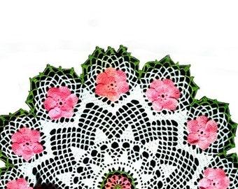 "19"" Vintage Crochet PATTERN Wild Rose Flower Doily Motif, Wild Rose Doily Pattern, Instant Download PDF J478"