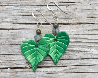 Green Birch Leaf Leather Earrings with Sterling Silver and Semiprecious Stone, Dangling Leaves with Moss Agate & Bloodstone, Naturalist Gift