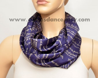 Blue silk scarf with Book print - Infinity scarf