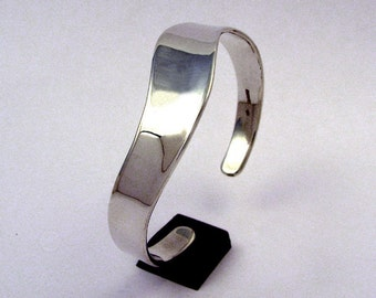 Sterling Silver Concave Smooth Cuff Bracelet