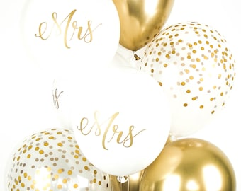 MRS BALLOONS with Gold Chrome and Confetti Balloons - Bridal Shower Balloon Bouquet - Mix of 8 Latex Balloons - Engagement Balloons - Bridal