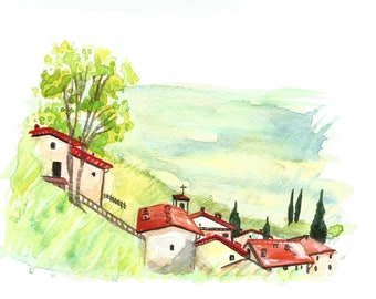 "Italian Landscape Original ART Painting Original Watercolor  ""TUSCANY"" Italy Italian Landscape & Scenic Made to Order"