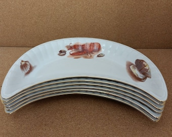 Rare Set of 6 Vintage Wawel Polish China Crescent Salad Plates Seafood Lobster Clam Oyster Design From OTCO Imports