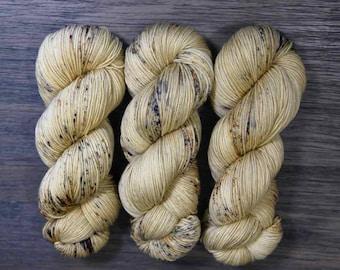 Hand Dyed Yarn - 'Lallybroch' Sock Yarn - Fingering Weight - Yellow - Speckles - Superwash Merino - Cashmere - Nylon 400 yards 115 grams