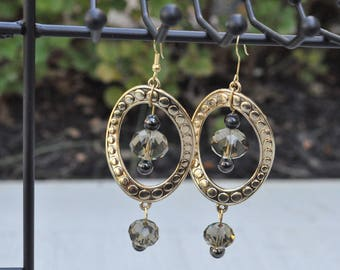 "Gold tone dangle earrings with crystal beads - ""Celisa"""