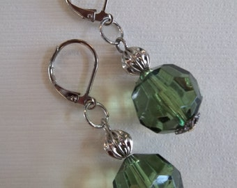 Green Faceted Glass Earrings