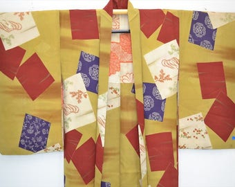 HAORI JACKET H43a - 1950s Mustard Various Floral Window