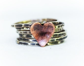 Pink Heart Stacking Ring Set, Hand Cut Copper Heart, Mixed Metal Rings, Blackened Silver Rings, Hammered Bands, Mothers Day Gift For Her