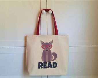 Wolf tote, Book bag, Library tote, Read