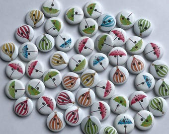 15mm X 50 Painted Round Wood Buttons Balloons and Umbrellas Destash Lot