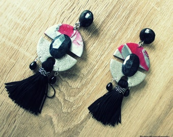 Long earrings with tassel (polymer clay)