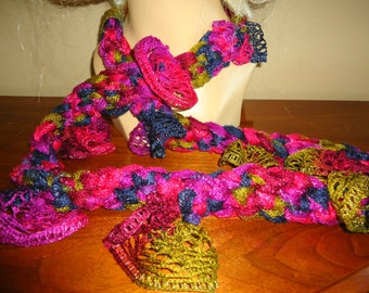 Fashion neckwear in purple, navy, gold and burgandy ruffle yarn