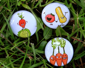 Vegetable Pins or Magnets - Set of 3